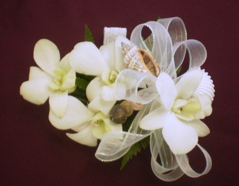 Shell and Flower Bridal Corsage