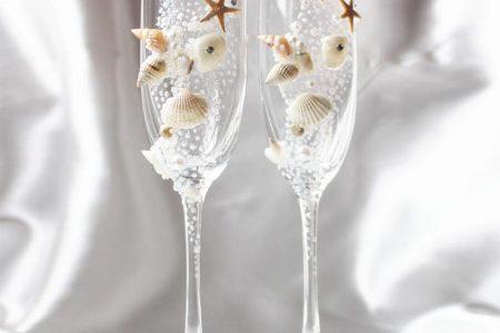 Shell Champagne Wedding Glasses