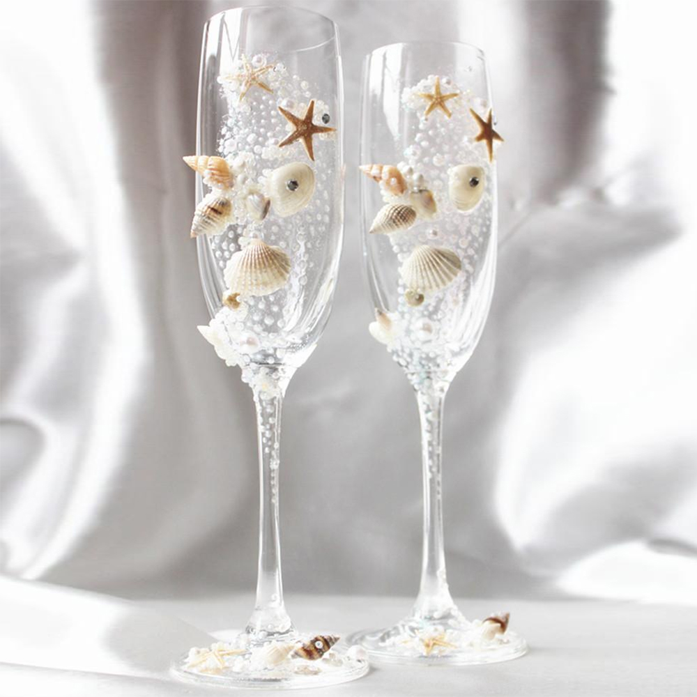 Shell Champagne Wedding Glasses